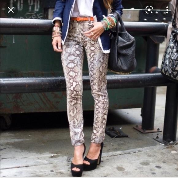 Zara High-Waisted Skinny Jean Snakeskin Print